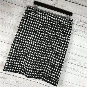 Talbots Skirt Pencil Straight Black Gray Slit 12